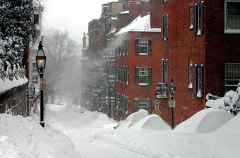 boston weather - beacon hill snowy street
